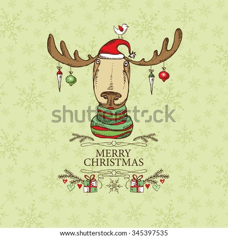 Christmas card with Christmas Elk. hand drawn  - stock vector