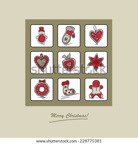 Christmas card with Christmas gingerbreads . Vector illustration. - stock vector