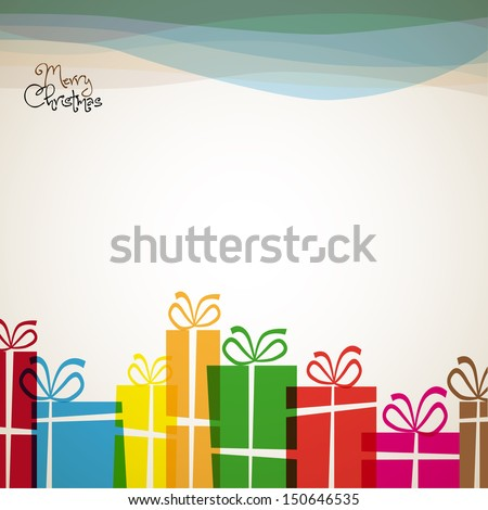 Christmas card with christmas presents - retro vector - stock vector