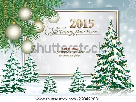 Christmas card with Christmas tree  - stock vector