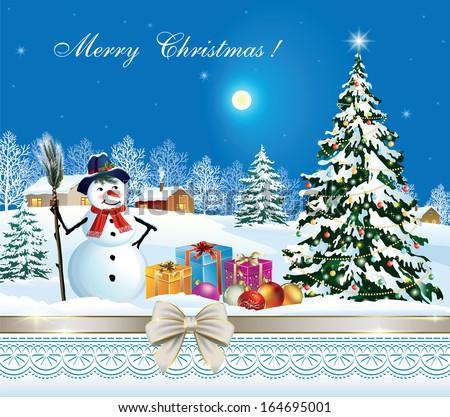 Christmas card with Christmas tree and snowman - stock vector