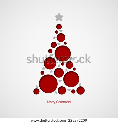 Christmas card with Christmas tree. Vector illustration - stock vector