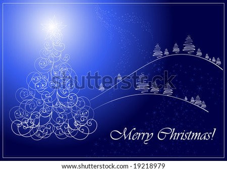 Christmas card with christmas tree, vector illustration, EPS file included