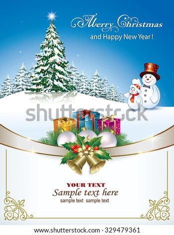 Christmas card with Christmas tree with snowmen and gifts - stock vector