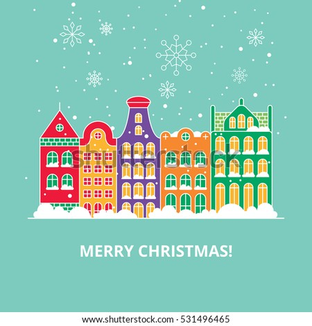 christmas card with city snowy houses in Amsterdam, vector flat illustration