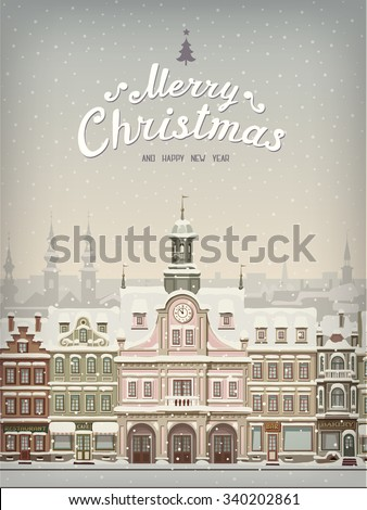Christmas card with cityscape and snowfall.  - stock vector
