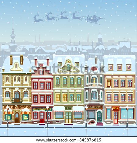 Christmas card with cityscape and snowfall