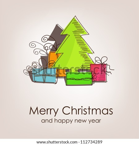 Christmas card with colorful christmas tree and gifts - stock vector