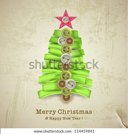 Christmas card with creative christmas tree made of ribbons - stock vector