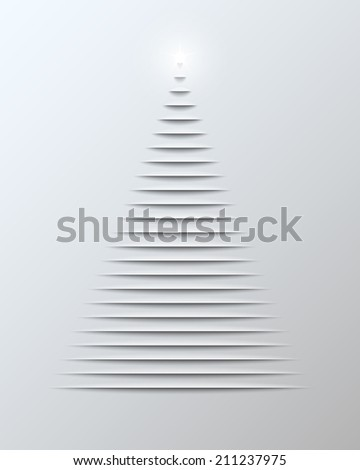 Christmas card with cut paper christmas tree and bright star. Vector illustration. - stock vector