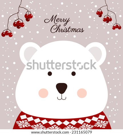 Christmas card with cute bear - stock vector