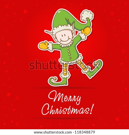Christmas card with cute little elf Santa helper - stock vector