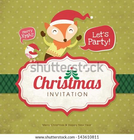 Christmas card with cute little fox & bird - stock vector