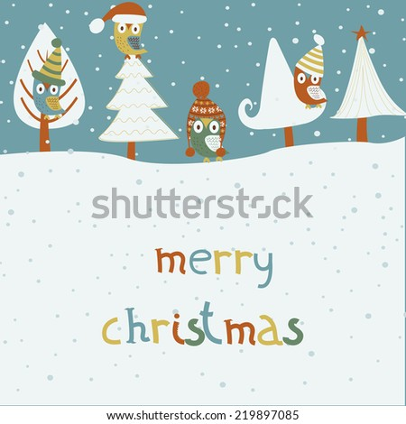 Christmas card with cute owls in winter hats sitting on trees. Cartoon style. - stock vector