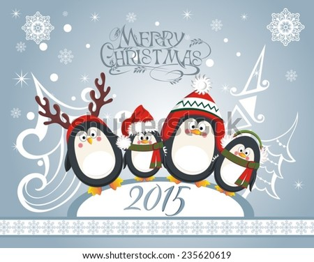 Christmas card with cute penguins - stock vector