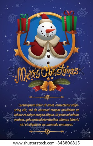 Christmas card with dark blue background with Christmas snowman in christmas hat holding two gift boxes, vector - stock vector