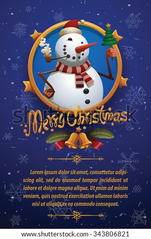 Christmas card with dark blue background with Christmas snowman in red christmas hat and green scarf smoking and holding a little christmas tree with gold star on top, vector - stock vector