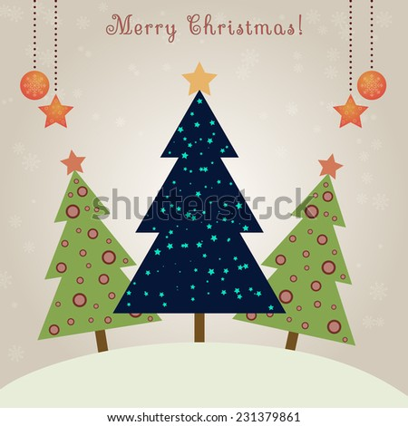 Christmas card with decorated fir trees and snowfall - stock vector
