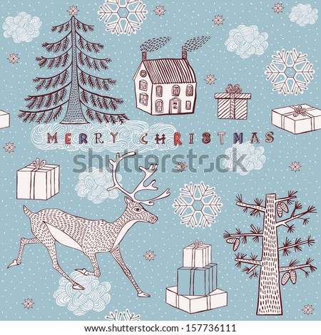 Christmas card with deer and gifts. Vector illustration. - stock vector