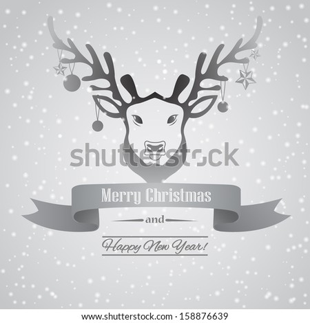 Christmas card with deer and snow - stock vector