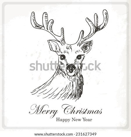 Christmas card with deer. Hand drawing vector illustration