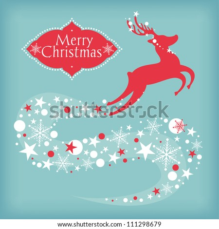 Christmas card with deer vector illustration - stock vector