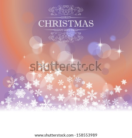 Christmas card with defocused lights and snowflakes