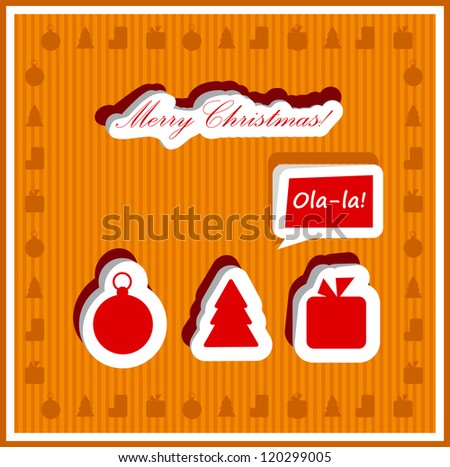 Christmas card with design xmas silhouette elements office stickers paper notes - stock vector