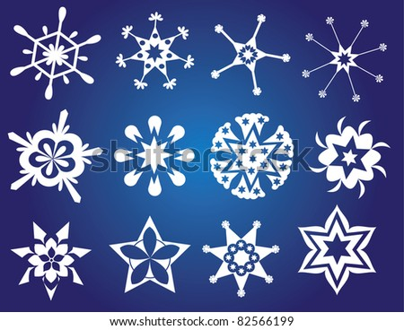 Christmas card with different snowflakes - stock vector