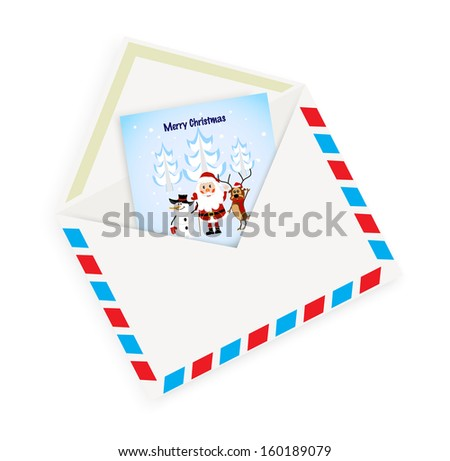 Christmas card with envelope on a white background - stock vector