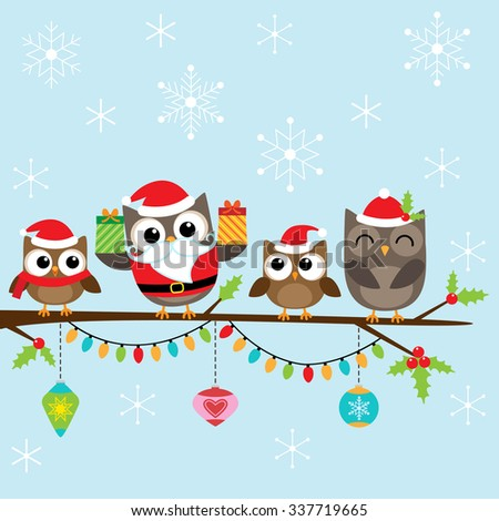 Christmas card with family of cute owls - stock vector