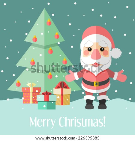 Christmas card with fir tree and Santa Claus and gifts - stock vector