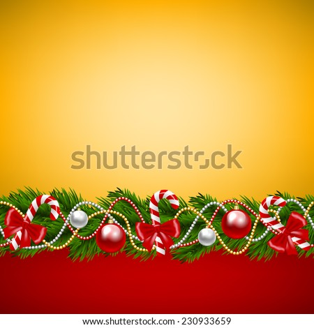 Christmas card with fir-tree decoration on golden background - stock vector