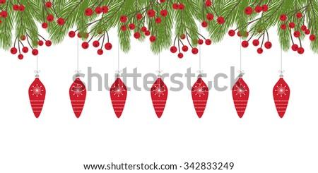 Christmas Card with Fir Twig Design - stock vector
