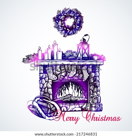 Christmas card with fireplace. Illustration for greeting cards, invitations, and other printing projects. - stock vector