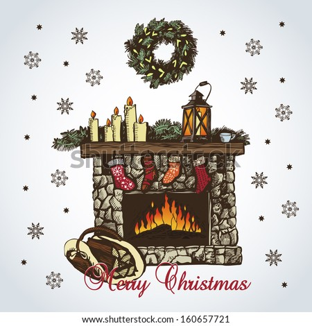 Christmas card with fireplace in retro styles - stock vector