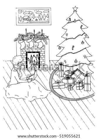 Christmas Card with fireplace, socks and xmas tree