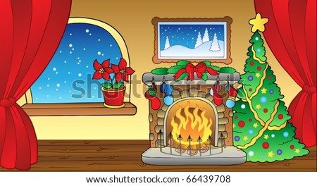 Christmas card with fireplace 2 - vector illustration. - stock vector