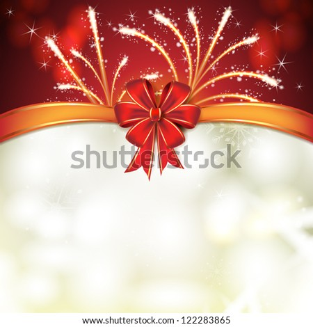 Christmas card with fireworks and bow