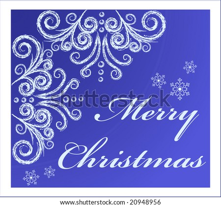 Christmas  card with frozen window swirls and snowflakes - stock vector