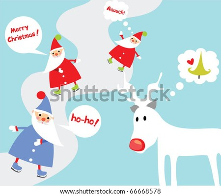 Christmas card with funny christmas characters - stock vector