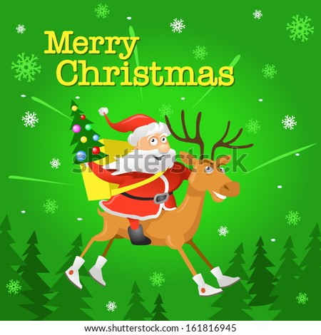 Christmas Card with Funny Santa Claus and Deer on Green Background - stock vector
