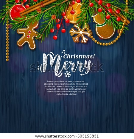 Christmas card with garland made from fir branches, red berries, gingerbreads, cinnamon, orange, pearls. Blue pattern background. Vector.