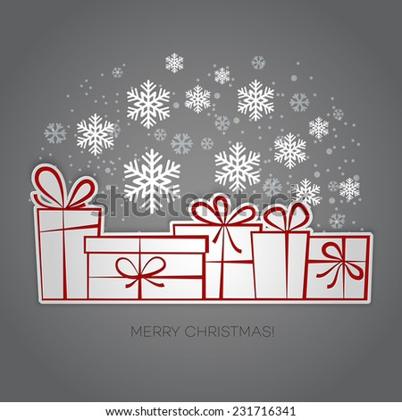 Christmas card with gift box and snowflakes - stock vector