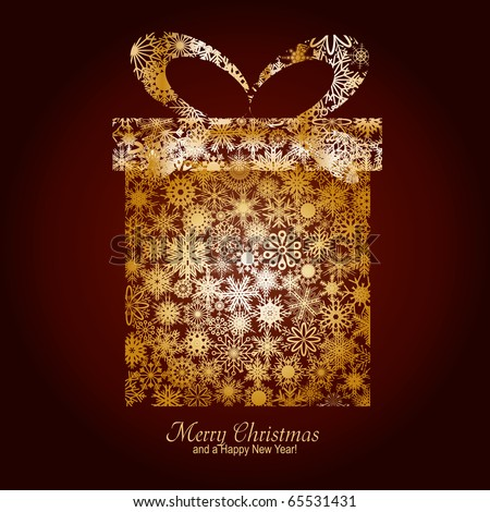 Christmas card with gift box made from gold snowflakes on brown background and a wish of Merry Christmas and a Happy New Year, vector illustration - stock vector