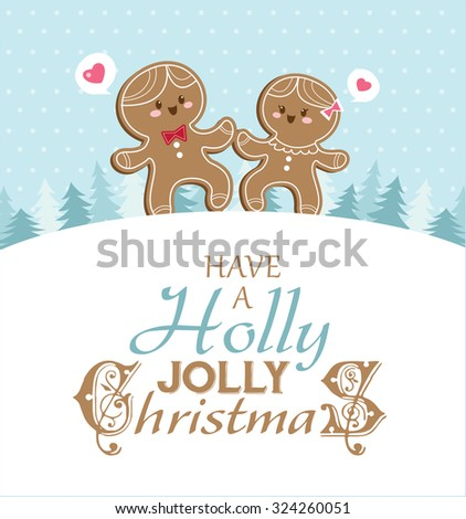 Christmas card with gingerbread man and girlfriend. - stock vector