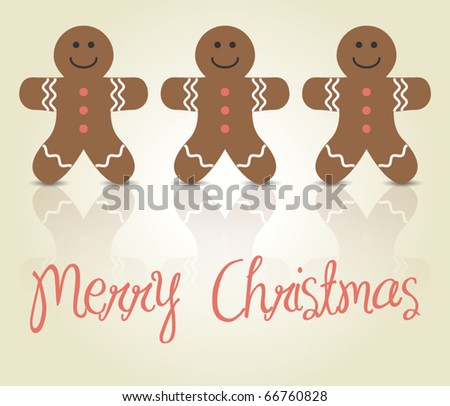 Christmas card with gingerbread men - stock vector
