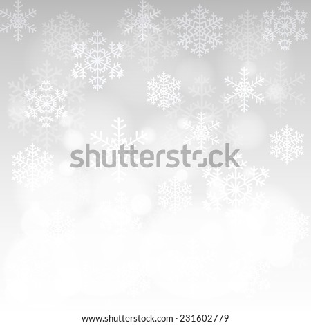 Christmas card with glowing snowflakes, and bokeh and white border - stock vector