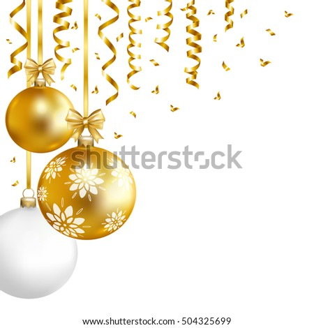 Christmas  card with gold, white balls, and gold serpentine. Vector illustration.