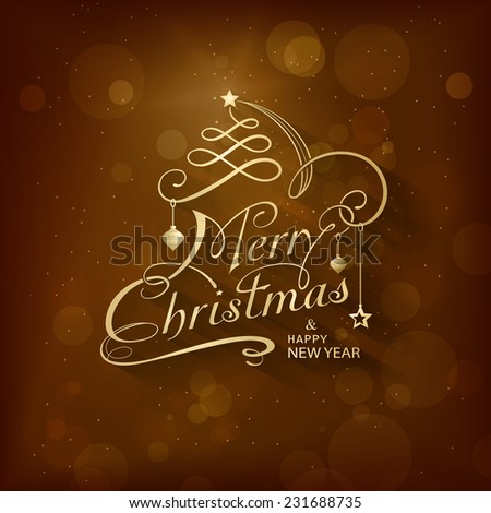 Christmas card with golden lettering Merry Christmas and Happy New Year on dark brown background with Christmas ornaments and blurry light dots. Calligraphy handwriting design background. - stock vector
